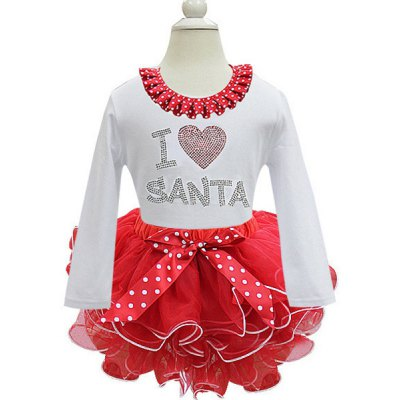 Cute Long Sleeve Laciness Letter Spliced Bowknot Embellished Multilayered Christmas Mini Dress For Girl