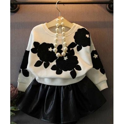 Batwing Sleeve Pattern Print Sweatshirt + Solid Color PU Mini Skirt Twinset For Girl