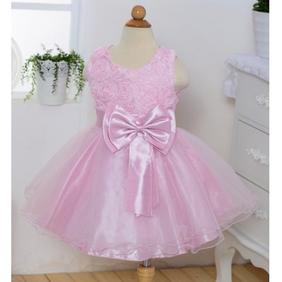 Sleeveless Round Neck Solid Color Bowknot Embellished Performing Dress For Girl