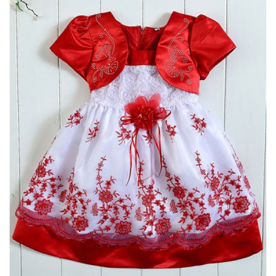 Cute Short Sleeve Square Neck Rhinestoned Embroidery Embellished Girl's Dress