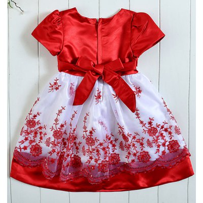 cute-short-sleeve-square-neck-rhinestoned-embroidery-embellished-girl-dress