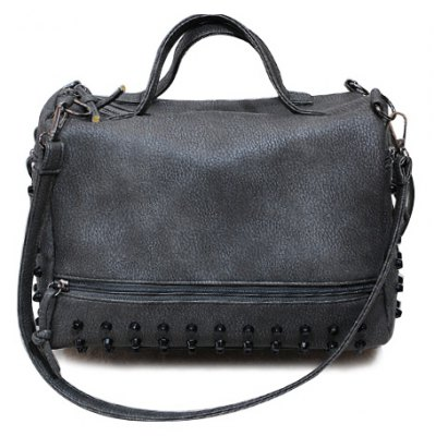 Stylish PU Leather and Rivets Design Solid Color Women's Tote Bag