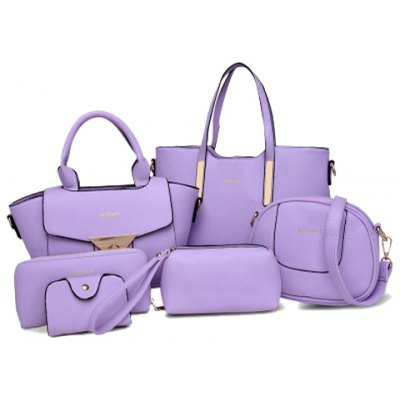 Letter Embellished Tote Handbag 6Pc Set