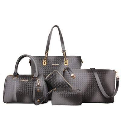 Trendy Woven Pattern and Metal Design Women's Shoulder Bag