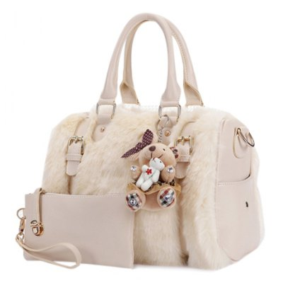 Graceful Plush and Buckles Design Women's Tote Bag