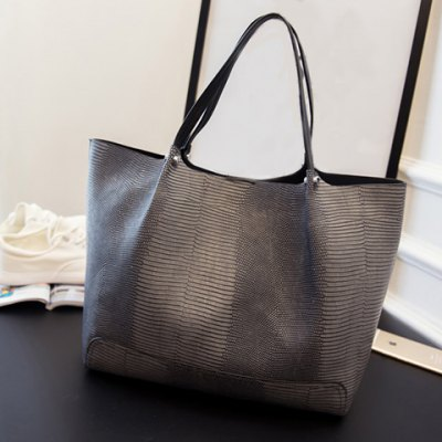Stylish PU Leather and Embossing Design Women's Shoulder Bag