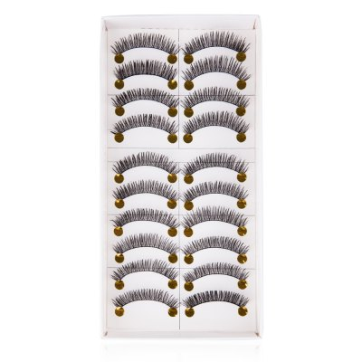 10 Pairs of Long Black Stems Thick Handmade False Eyelashes