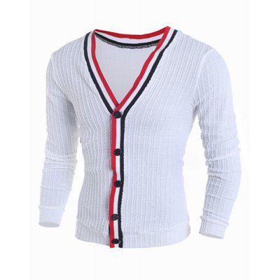 Color Block Braid Button Fly Stripes Pattern V-Neck Long Sleeves Men's Slimming Cardigan