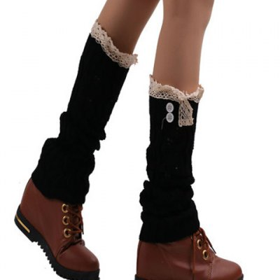 Pair of Chic Buttons and Lace Edge Embellished Hollow Out Knitted Leg Warmers For Women