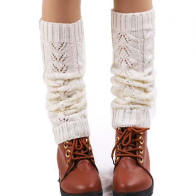 Hollow Out Solid Color Knitted Leg Warmers For Women