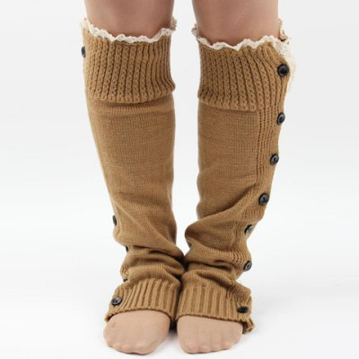 Lace Edge and Buttons Embellished Knitted Leg Warmers For Women