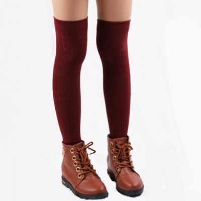 Pair of Chic Hemp Flower Jacquard Solid Color Knitted Stockings For Women
