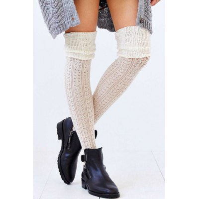 Pair of Chic Color Block Hollow Out Pleated Knitted Stockings For Women