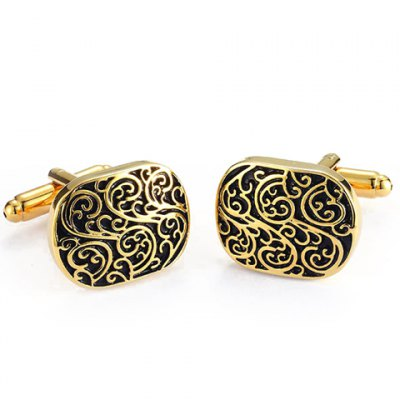 Pair of Stylish Retro Carve Embellished Golden Alloy Cufflinks For Men