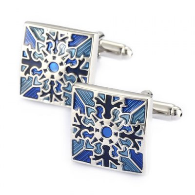 Pair of Stylish Retro Engraving Embellished Quadrate Cufflinks For Men