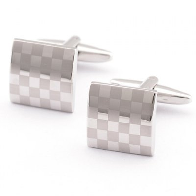 Laser Checked Pattern Quadrate Cufflinks For Men