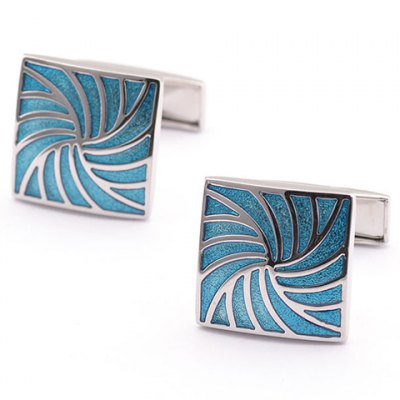 Pair of Stylish Vortex Shape Alloy Embellished Quadrate Cufflinks For Men