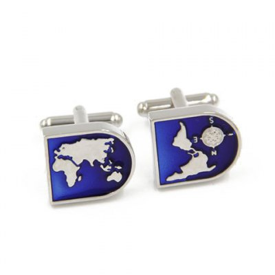 Map Shape Embellished Cufflinks For Men