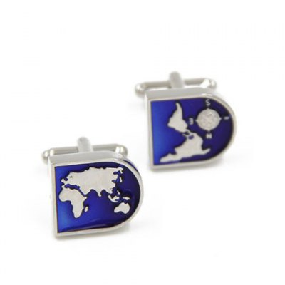 Pair of Stylish Map Shape Embellished Cufflinks For Men