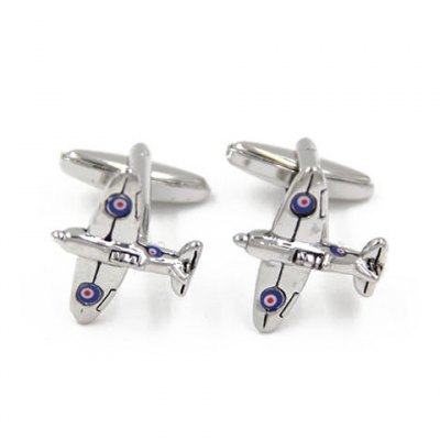 Pair of Stylish Warplane Shape Cufflinks For Men