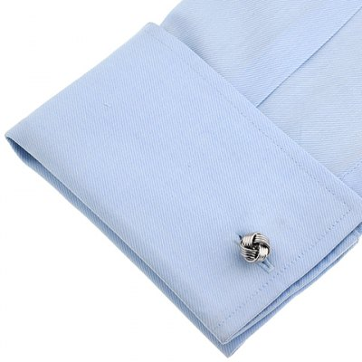 Pair of Stylish Silver Love Knot Shape Cufflinks For Men