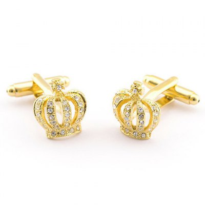 Pair of Stylish Rhinestone Hollow Out Golden Crown Shape Cufflinks For Men