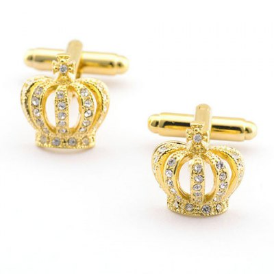 Rhinestone Hollow Out Golden Crown Shape Cufflinks For Men