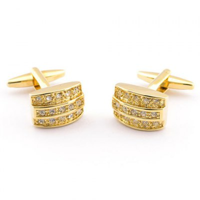 Pair of Stylish Rhinestone Embellished Golden Alloy Cufflinks For Men