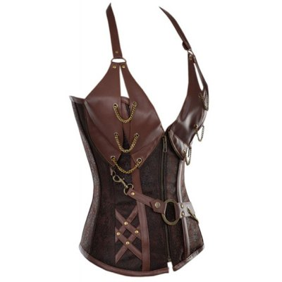 sexy-halter-pu-leather-splicing-chained-corset-for-women