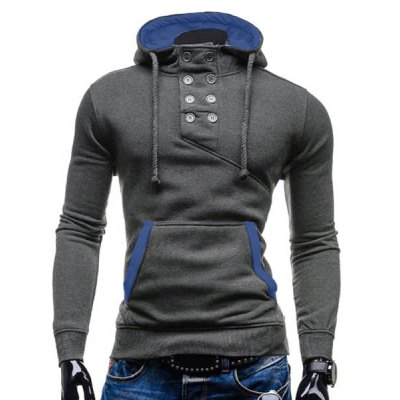 Trendy Hooded Double Breasted Pocket Hemming Slimming Long Sleeve Cotton Blend Hoodie For Men