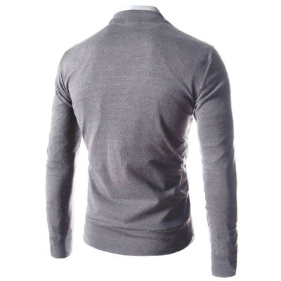 Trendy Slimming V-Neck Single Breasted Solid Color Long Sleeve Polyester Cardigan For Men
