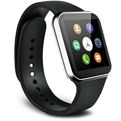 A9 MTK2502A Smart WatchSmart Watches<br>A9 MTK2502A Smart Watch<br><br>Alert type: Vibration, Ring<br>Anti-lost: Yes<br>Available Color: Black,Gold,Silver<br>Band material: TPU<br>Battery Capacity: 350mAh<br>Bluetooth calling: Call log sync,Dialing,Phone call reminder,Phonebook<br>Bluetooth Version: Bluetooth 4.0<br>Built-in chip type: MTK2502<br>Case material: Alloy<br>Compatability: Android 4.3 / iOS 7.0 or above system<br>Compatible OS: Android, IOS<br>Dial size: 4.5 x 3.9 x 0.9 cm / 1.77 x 1.54 x 0.35 inches<br>Find phone: Yes<br>Groups of alarm: 5 sets<br>Health tracker: Heart rate monitor,Pedometer,Sedentary reminder,Sleep monitor<br>Language: English,French,German,Italian,Japanese,Korean,Portuguese,Russian,Spanish,Turkish<br>Locking screen : 4 kinds<br>Messaging: Message reminder<br>Notification: Yes<br>Other Functions: Alarm, Voice recorder, Calender, Calculator, Stopwatch<br>Package Contents: 1 x A9 Smart Watch, 1 x USB Charging Cable, 1 x Chinese and English Manual<br>Package size (L x W x H): 14.50 x 7.50 x 7.50 cm / 5.71 x 2.95 x 2.95 inches<br>Package weight: 0.235 kg<br>People: Unisex watch<br>Product size (L x W x H): 26.20 x 3.90 x 0.90 cm / 10.31 x 1.54 x 0.35 inches<br>Product weight: 0.067 kg<br>Remote Control: Camera remote,Music remote<br>Screen: TFT<br>Screen resolution: 240 x 240 px<br>Screen size: 1.54 inch<br>Shape of the dial: Rectangle<br>Standby time: About 120 hours<br>The band width: 2.2 cm / 0.87 inches<br>Waterproof: Yes<br>Wearing diameter: 19 - 24 cm / 7.48 - 9.45 inches