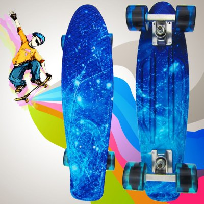 100kg Load Starry Sky Pattern Retro SkateboardSkateboard<br>100kg Load Starry Sky Pattern Retro Skateboard<br><br>Color: Blue<br>Package Content: 1 x 100kg Load Retro Skateboard Starry Sky Pattern Mini Board for Outdoor Sport<br>Package size: 58.00 x 17.00 x 12.00 cm / 22.83 x 6.69 x 4.72 inches<br>Package weight: 1.7950 kg<br>Product size: 56.00 x 15.50 x 10.00 cm / 22.05 x 6.1 x 3.94 inches<br>Product weight: 1.7400 kg<br>Wheel Diameter: 6cm<br>Wheel Thickness: 4.5cm