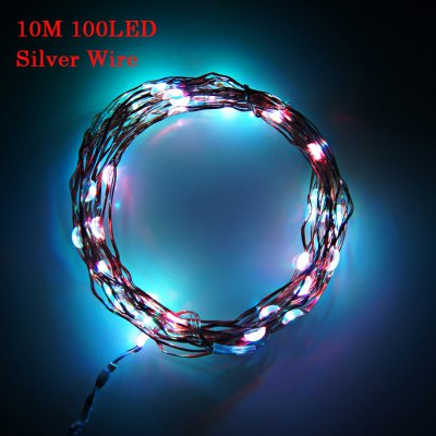 100 LED String Light Silver Wire