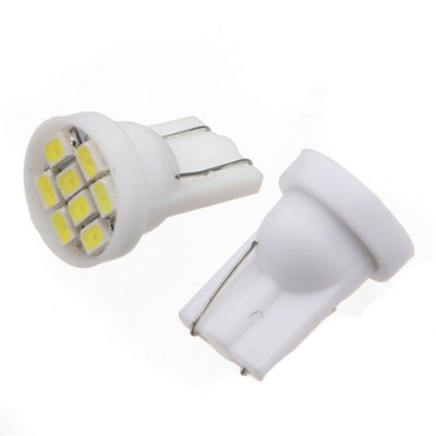 2pcs Car Ultra White 8-LED 3020 SMD T10 Bulb Wedge Side Light Bulb
