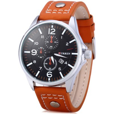 Curren 8164 Male Quartz Watch with Date Function Leather Band