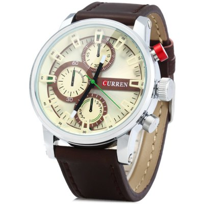 Curren 8170 Male Quartz Watch with Stereo Scale Leather Band