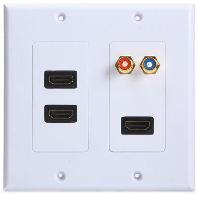 5 Port 3 HDMI 2 RCA Video HDTV Wall Plate