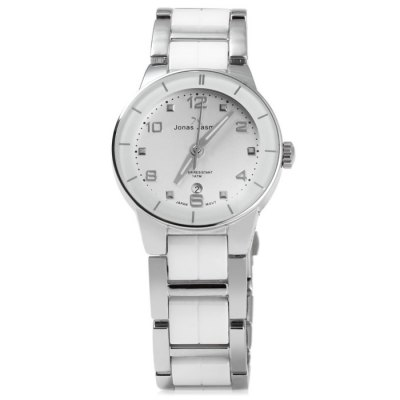 Jonas Jasmin 2013 Ladies Japan Quartz WatchWomens Watches<br>Jonas Jasmin 2013 Ladies Japan Quartz Watch<br><br>Available Color: White and Black,Black,White,Gold,Rose Gold<br>Band material: Ceramics and steel<br>Brand: Jonas Jasmin<br>Case material: Stainless Steel<br>Clasp type: Folding clasp with safety<br>Display type: Analog<br>Movement type: Quartz watch<br>Package Contents: 1 x Jonas Jasmin 2013 Watch<br>Package size (L x W x H): 15 x 4.9 x 1.9 cm / 5.90 x 1.93 x 0.75 inches<br>Package weight: 0.154 kg<br>Product size (L x W x H): 14 x 3.9 x 0.9 cm / 5.50 x 1.53 x 0.35 inches<br>Product weight: 0.104 kg<br>Shape of the dial: Round<br>Special features: Date<br>Style: Fashion&amp;Casual<br>The band width: 1.9 cm / 0.75 inches<br>The dial diameter: 3.9 cm / 1.53 inches<br>The dial thickness: 0.9 cm / 0.35 inches<br>Watches categories: Female table<br>Water resistance : 10 meters