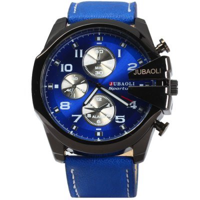Jubaoli Men Quartz WatchMens Watches<br>Jubaoli Men Quartz Watch<br><br>Available Color: Black,White,Red,Blue<br>Band material: Leather<br>Brand: Jubaoli<br>Case material: Stainless Steel<br>Clasp type: Pin buckle<br>Display type: Analog<br>Movement type: Quartz watch<br>Package Contents: 1 x Jubaoli Watch<br>Package size (L x W x H): 27 x 6.2 x 2.4 cm / 10.61 x 2.44 x 0.94 inches<br>Package weight: 0.132 kg<br>Product size (L x W x H): 26 x 5.2 x 1.4 cm / 10.22 x 2.04 x 0.55 inches<br>Product weight: 0.082 kg<br>Shape of the dial: Round<br>Special features: Luminous, Decorating small sub-dials<br>The band width: 2.4 cm / 0.94 inches<br>The dial diameter: 5.2 cm / 2.04 inches<br>The dial thickness: 1.4 cm / 0.55 inches<br>Watch style: Fashion<br>Watches categories: Male table<br>Wearable length: 18 - 23 cm / 7.09 - 9.06 inches