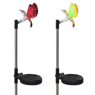2 x Solar Hummingbird Shaped Garden Stake Light Color-changing Optical Fiber LightOutdoor Lights<br>2 x Solar Hummingbird Shaped Garden Stake Light Color-changing Optical Fiber Light<br><br>Features: Waterproof, Rechargeable, Sensor<br>Light Type: Outdoor Light,Solar Light,Night Light<br>Optional Light Color: Colorful<br>Package Contents: 2 x Solar Stake Light<br>Package size (L x W x H): 26.50 x 11.00 x 10.00 cm / 10.43 x 4.33 x 3.94 inches<br>Package weight: 0.357 kg<br>Powered Source: Solar<br>Product size (L x W x H): 67.50 x 10.00 x 9.00 cm / 26.57 x 3.94 x 3.54 inches<br>Product weight: 0.036 kg