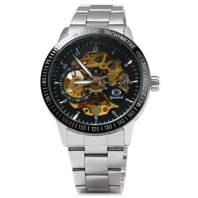 Gucamel Hollow-out Automatic Mechanical Male Watch with Stainless Steel BandMens Watches<br>Gucamel Hollow-out Automatic Mechanical Male Watch with Stainless Steel Band<br><br>Available Color: Black,White<br>Band material: Stainless Steel<br>Brand: Gucamel<br>Case material: Stainless Steel<br>Clasp type: Folding clasp with safety<br>Display type: Analog<br>Movement type: Automatic mechanical watch<br>Package Contents: 1 x Gucamel Watch, 1 x Chinese and English Manual<br>Package size (L x W x H): 23 x 5.2 x 2.2 cm / 9.04 x 2.04 x 0.86 inches<br>Package weight: 0.161 kg<br>Product size (L x W x H): 22 x 4.2 x 1.2 cm / 8.65 x 1.65 x 0.47 inches<br>Product weight: 0.111 kg<br>Shape of the dial: Round<br>Special features: Decorating small sub-dials<br>Style elements: Hollow Out<br>The band width: 1.8 cm / 0.71 inches<br>The dial diameter: 4.2 cm / 1.65 inches<br>The dial thickness: 1.2 cm / 0.47 inches<br>Watch style: Business<br>Watches categories: Male table