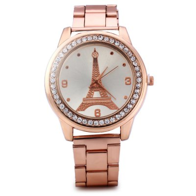 Eiffel Tower Pattern Diamond Women Quartz Watch with Stainless Steel BandWomens Watches<br>Eiffel Tower Pattern Diamond Women Quartz Watch with Stainless Steel Band<br><br>Available Color: Gold,Rose Gold<br>Band material: Stainless Steel<br>Case material: Stainless Steel<br>Clasp type: Folding clasp with safety<br>Display type: Analog<br>Movement type: Quartz watch<br>Package Contents: 1 x Watch<br>Package size (L x W x H): 22 x 5.1 x 1.8 cm / 8.65 x 2.00 x 0.71 inches<br>Package weight: 0.122 kg<br>Product size (L x W x H): 21 x 4.1 x 0.8 cm / 8.25 x 1.61 x 0.31 inches<br>Product weight: 0.072 kg<br>Shape of the dial: Round<br>Style: Fashion&amp;Casual<br>The band width: 1.8 cm / 0.71 inches<br>The dial diameter: 4.1 cm / 1.61 inches<br>The dial thickness: 0.8 cm / 0.31 inches<br>Watches categories: Female table