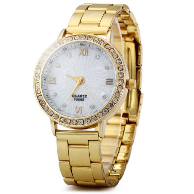 Diamond Bezel Female Quartz Watch with Stainless Steel Strap