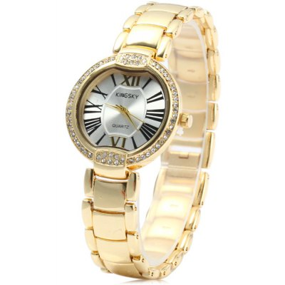 Kingsky Diamond Female Quartz Watch with Stainless Steel Band Golden Case