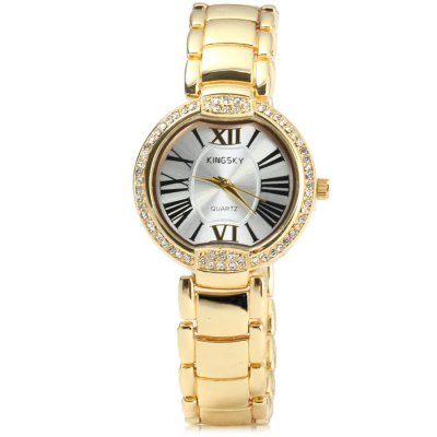 Kingsky Diamond Female Quartz Watch with Stainless Steel Band Golden CaseWomens Watches<br>Kingsky Diamond Female Quartz Watch with Stainless Steel Band Golden Case<br><br>Available Color: Gold,Rose Gold<br>Band material: Stainless Steel<br>Brand: Kingsky<br>Case material: Stainless Steel<br>Clasp type: Sheet folding clasp<br>Display type: Analog<br>Movement type: Quartz watch<br>Package Contents: 1 x Kingsky Watch<br>Package size (L x W x H): 22 x 4.3 x 1.7 cm / 8.65 x 1.69 x 0.67 inches<br>Package weight: 0.113 kg<br>Product size (L x W x H): 21 x 3.5 x 0.7 cm / 8.25 x 1.38 x 0.28 inches<br>Product weight: 0.063 kg<br>Shape of the dial: Round<br>Style: Fashion&amp;Casual<br>The band width: 1.5 cm / 0.59 inches<br>The dial diameter: 3.5 cm / 1.38 inches<br>The dial thickness: 0.7 cm / 0.28 inches<br>Watches categories: Female table