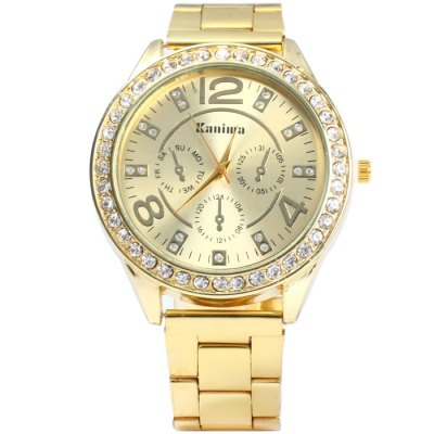 Kanima Male Quartz Watch with Diamond Bezel Stainless Steel BandMens Watches<br>Kanima Male Quartz Watch with Diamond Bezel Stainless Steel Band<br><br>Available Color: Gold,Rose Gold,Silver<br>Band material: Stainless Steel<br>Brand: Kanima<br>Case material: Stainless Steel<br>Clasp type: Folding clasp with safety<br>Display type: Analog<br>Movement type: Quartz watch<br>Package Contents: 1 x Kanima Watch<br>Package size (L x W x H): 21 x 5.3 x 2 cm / 8.25 x 2.08 x 0.79 inches<br>Package weight: 0.121 kg<br>Product size (L x W x H): 20 x 4.3 x 1 cm / 7.86 x 1.69 x 0.39 inches<br>Product weight: 0.071 kg<br>Shape of the dial: Round<br>Special features: Decorating small sub-dials<br>The band width: 1.8 cm / 0.71 inches<br>The dial diameter: 4.3 cm / 1.69 inches<br>The dial thickness: 1.0 cm / 0.39 inches<br>Watch style: Fashion<br>Watches categories: Male table