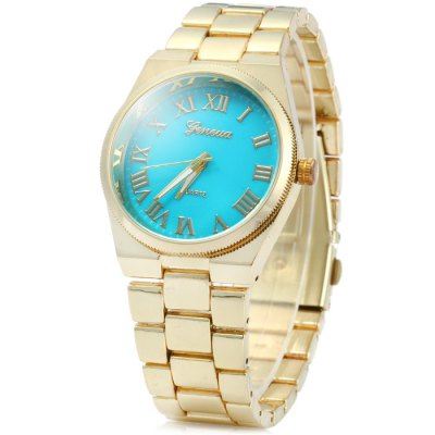 Geneva Stainless Steel Band Women Quartz Watch