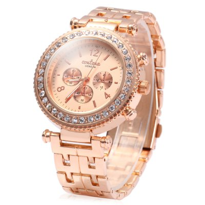 Contena Geneva Ladies Quartz Watch Diamond Bezel Stainless Steel StrapWomens Watches<br>Contena Geneva Ladies Quartz Watch Diamond Bezel Stainless Steel Strap<br><br>Available Color: Gold,Rose Gold,Silver<br>Band material: Stainless Steel<br>Case material: Stainless Steel<br>Clasp type: Sheet folding clasp<br>Display type: Analog<br>Movement type: Quartz watch<br>Package Contents: 1 x Contena Geneva Watch<br>Package size (L x W x H): 22 x 4.8 x 1.9 cm / 8.65 x 1.89 x 0.75 inches<br>Package weight: 0.143 kg<br>Product size (L x W x H): 21 x 3.8 x 0.9 cm / 8.25 x 1.49 x 0.35 inches<br>Product weight: 0.093 kg<br>Shape of the dial: Round<br>Special features: Decorating small sub-dials<br>Style: Diamond, Fashion&amp;Casual<br>The band width: 1.8 cm / 0.71 inches<br>The dial diameter: 3.8 cm / 1.49 inches<br>The dial thickness: 0.9 cm / 0.35 inches<br>Watches categories: Female table