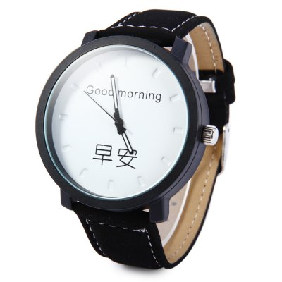 Men Quartz Watch with Greetings Dial Leather BandMens Watches<br>Men Quartz Watch with Greetings Dial Leather Band<br><br>Available Color: Black,White<br>Band material: Leather<br>Case material: Stainless Steel<br>Display type: Analog<br>Movement type: Quartz watch<br>Package Contents: 1 x Watch<br>Package size (L x W x H): 27 x 5.5 x 2 cm / 10.61 x 2.16 x 0.79 inches<br>Package weight: 0.097 kg<br>Product size (L x W x H): 26 x 4.5 x 1 cm / 10.22 x 1.77 x 0.39 inches<br>Product weight: 0.047 kg<br>Shape of the dial: Round<br>The band width: 2.0 cm / 0.79 inches<br>The dial diameter: 4.5 cm / 1.77 inches<br>The dial thickness: 1.0 cm / 0.39 inches<br>Watch style: Fashion<br>Watches categories: Male table